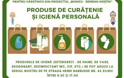 """Campania de strângere de produse igienice pentru """"Bunicii – semenii noștri"""""""